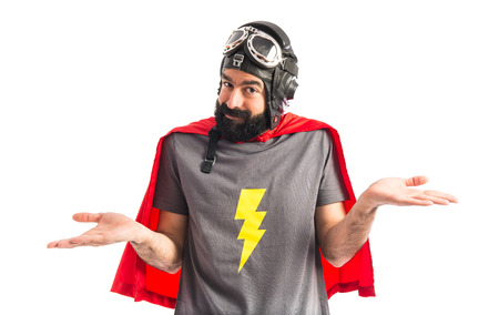 unimportant: Superhero making unimportant gesture
