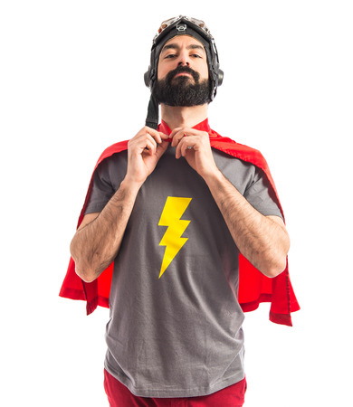 geek: Superh�roe sobre fondo blanco Foto de archivo