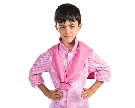 preppy: Sad boy over white background Stock Photo