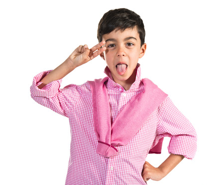 mockery: Boy making a joke Stock Photo