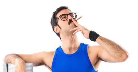 sportman: Sportman smoking Stock Photo