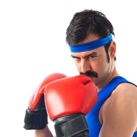 sportman: Crazy sportman with boxing gloves