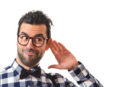 listen ear: Posh boy listening something