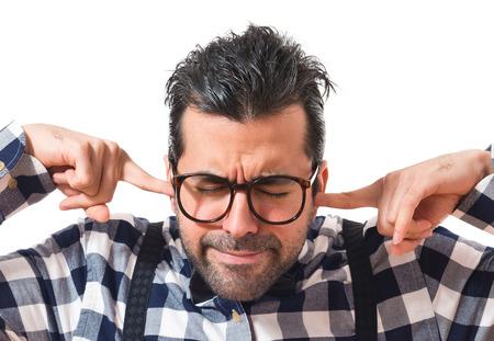 posh: Posh boy covering his ears Stock Photo