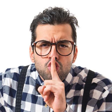 posh: Posh boy making silence gesture