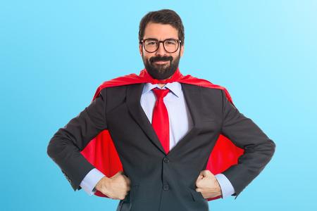 Zakenman gekleed als superheld Stockfoto