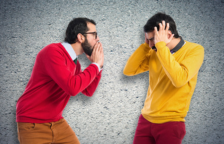 man yelling: man yelling to his brother
