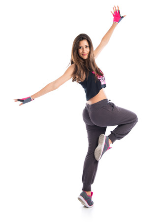 hip hop girl: Teenager girl dancing hip hop