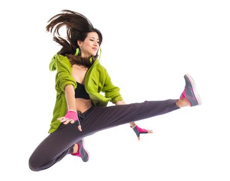 Teenager girl dancing street dance style