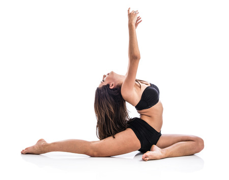 Young yoga female posing photo
