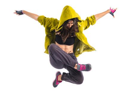 gimnasia aerobica: Muchacha del adolescente bailando hip hop