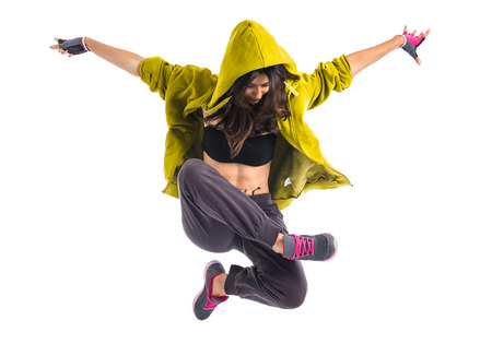 street dance: Teenager girl dancing hip hop