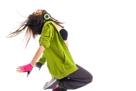 street dance: Teenager girl dancing street dance style