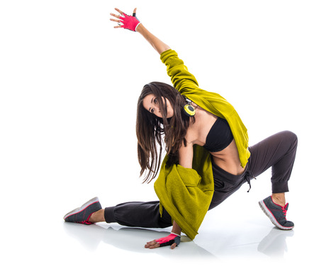 contemporary dance: Teenager girl dancing street dance style