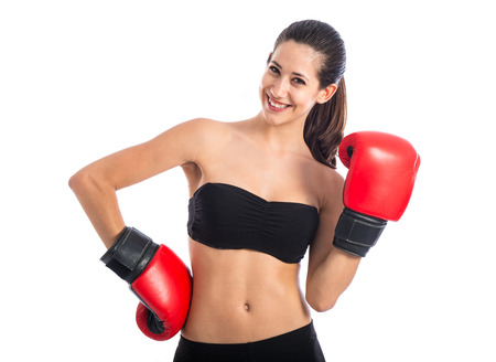 Happy sport woman with boxing gloves photo