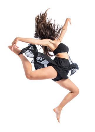 bailarina de ballet: Joven bailarina de ballet saltando sobre fondo blanco Foto de archivo
