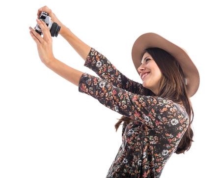 Woman making a selfie photo