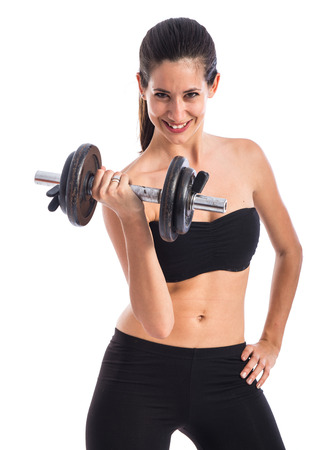 Sport woman doing weightlifting photo