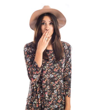 Woman doing surprise gesture