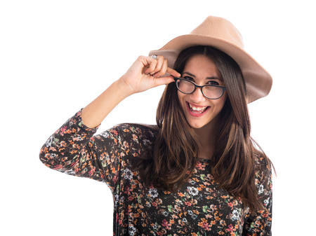 Pretty woman with glasses over white background photo