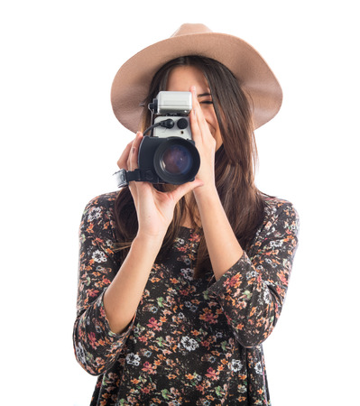 filmmaker: Woman with vintage video camera