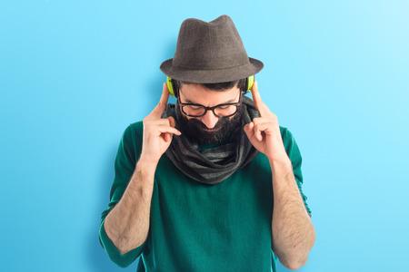 Artist listening music photo