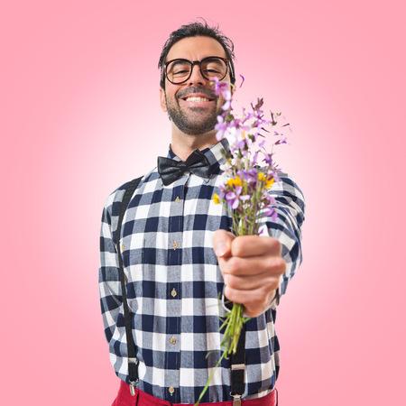 preppy: Posh boy with flowers
