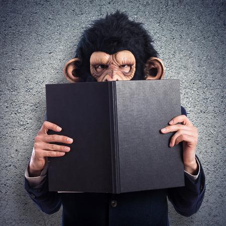 ape: ape man hiding behind a book