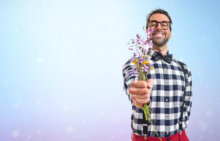 posh: Posh boy with flowers