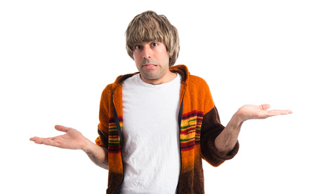 unimportant: Blonde man making unimportant gesture Stock Photo