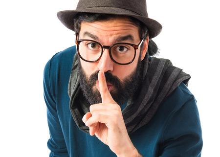 silence gesture: Artist making silence gesture Stock Photo