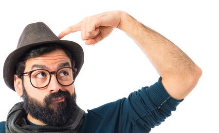 hombre con sombrero: Hombre pensamiento  Foto de archivo