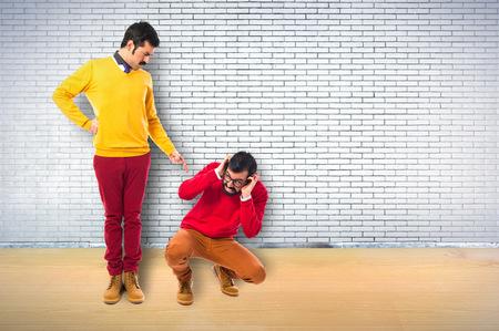 man yelling: man yelling his brother
