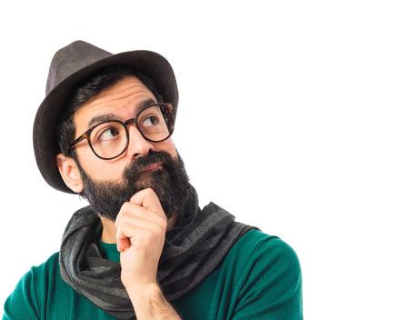 Bohemian man thinking over white background