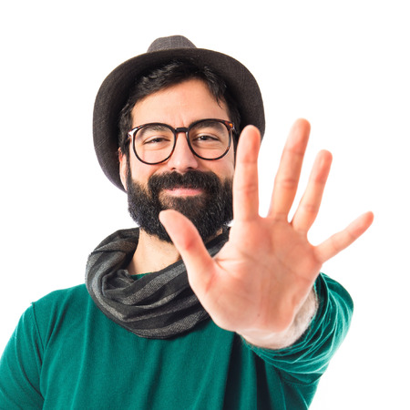 counting five: bohemian man counting five Stock Photo
