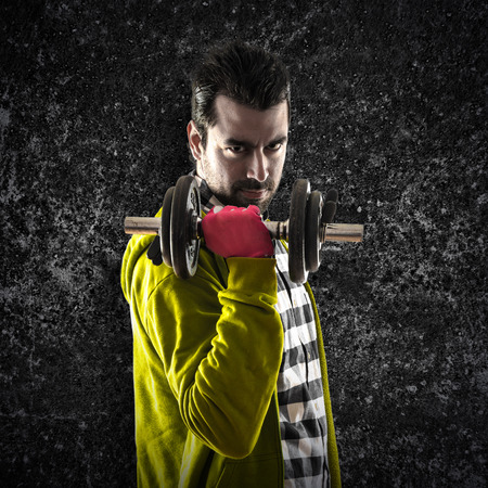 weightlifting: Man doing weightlifting