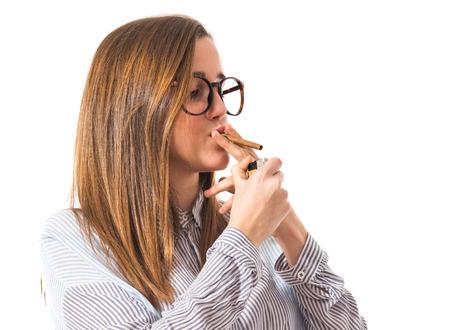 preppy: Girl smoking Stock Photo