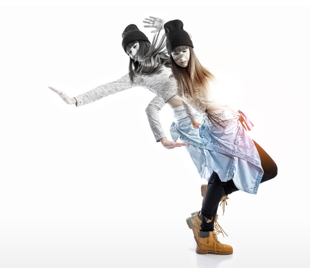 exposition: Double exposition girl dancing hip hop style