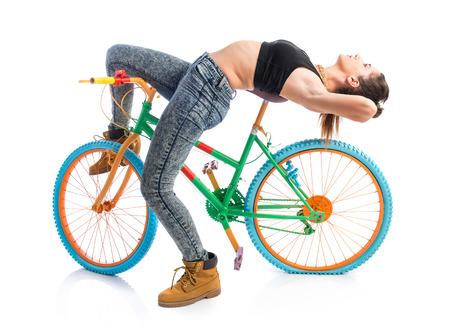 mujer descansando: Mujer descansando colorido moto