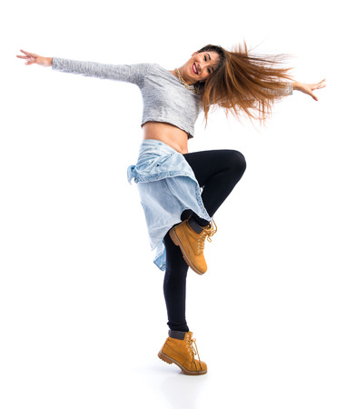 street dance: Girl dancing street dance Stock Photo