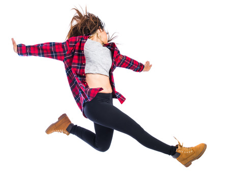 hip hop style: Girl jumping in hip hop style
