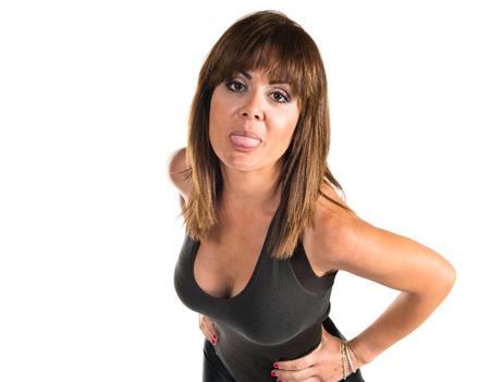 joke: Woman doing a joke Stock Photo