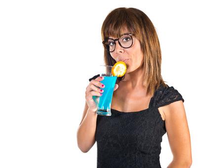 liquor girl: Woman drinking a cocktail