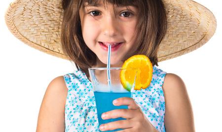 drinking soda: Girl drinking soda