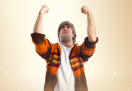 first australians: Lucky man over white background Stock Photo