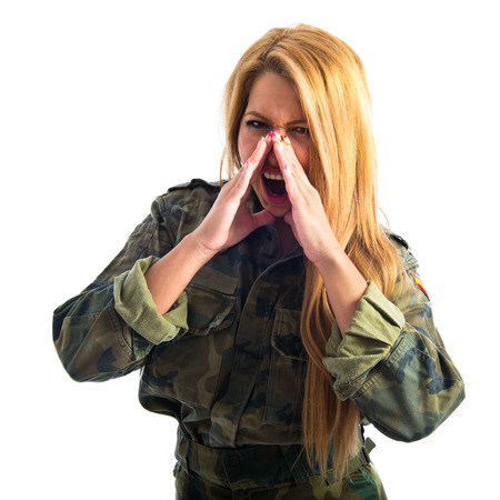 woman shouting: Military woman shouting