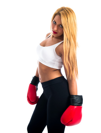 sexy blonde girl: Sexy blonde girl with boxing gloves
