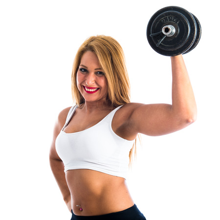 sport woman: Sport woman doing weightlifting