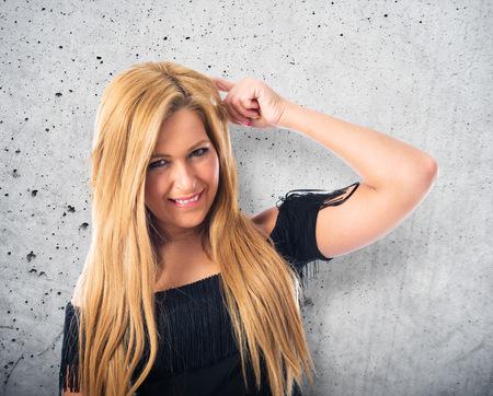 blonde hispanic: Pretty girl thinking