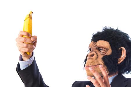ape: ape man surprised by a banana